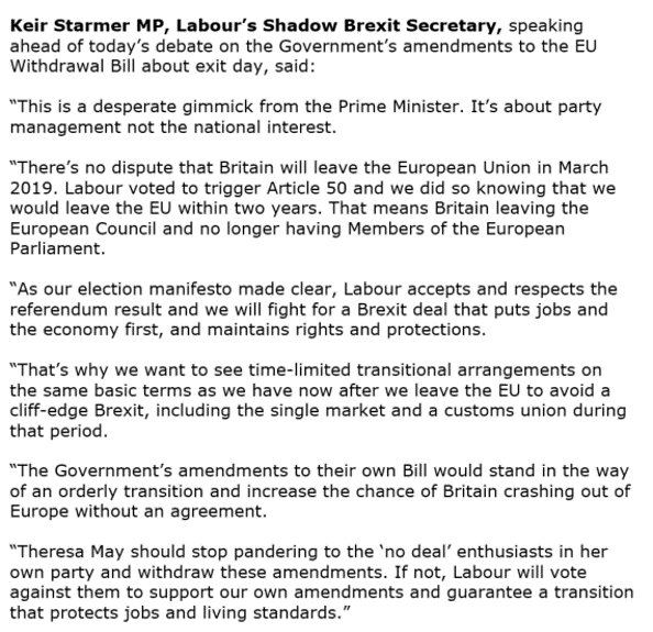 Shadow Brexit Team On Twitter Breaking Keirstarmer Calls On
