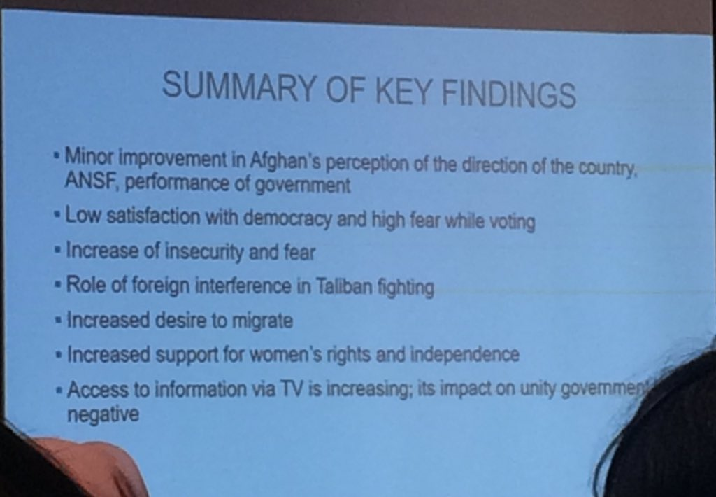 #Summary of key findings of the @Asia_Foundation survey of the #Afghan people. #AfghanSurvey<br>http://pic.twitter.com/Fd2EgGk1mY