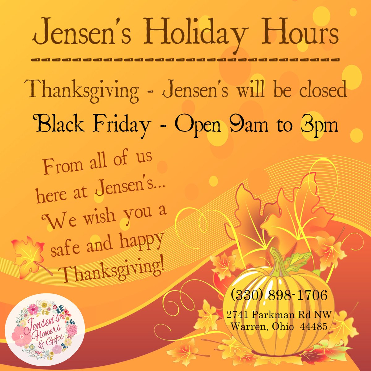 Jensen&#39;s Holiday hours  #jensensflowersandgifts #shoplocal #fall #autumn #autumnlight #autumnleaves #autumnday #thanksgiving #holidays #centerpiece #decorations #dsfloral #flower #flowers #handcrafted #floralarrangement #florist #flowershop #eventflowers #freshflowers<br>http://pic.twitter.com/mX5hqI84B2