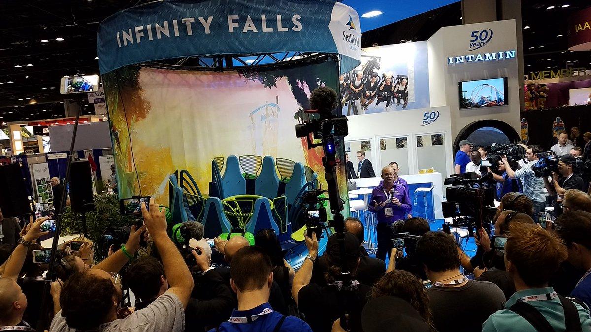 Infinity falls raft trains at SeaWorld