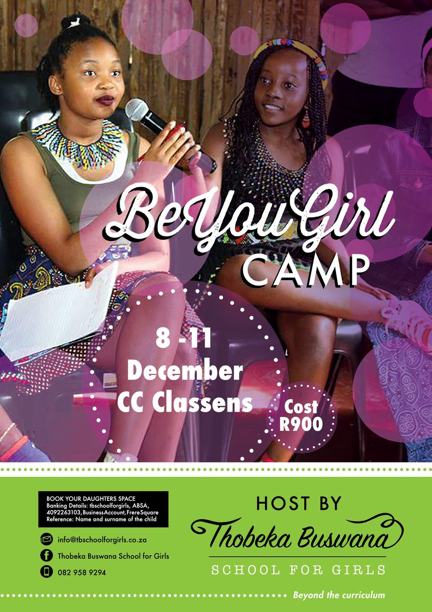 RT @tbschool4girls: Register your daughter for the upcoming camp. Contact us at Info@tbschoolforgirls.co.za https://t.co/MY9np7faie