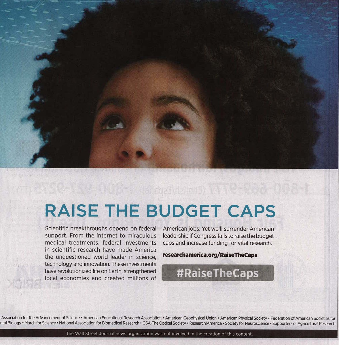 Our full-page #RaisetheCaps ad is in today&#39;s @WSJ. Learn more about the campaign and find out how you can help Congress reach a bipartisan FY18 budget deal that supports life-saving scientific research.  http:// researchamerica.org/raisethecaps  &nbsp;  <br>http://pic.twitter.com/8oDclBPmAI