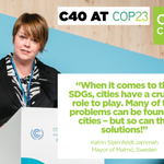 First female mayor of Malmö @KatrinS_J on #ClimateAction in #Women4Climate #LocalizingSDG #COP23