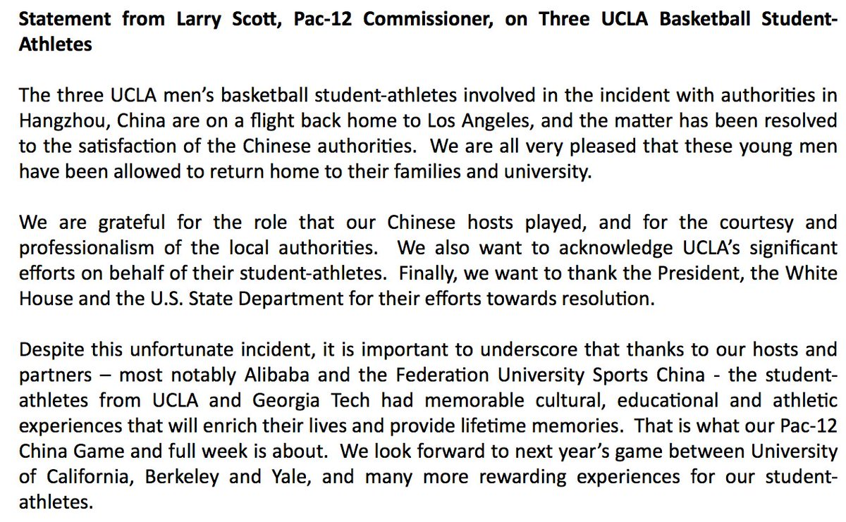 "NEW: Three UCLA basketball players accused of shoplifting in China on flight back home to Los Angeles: ""Matter has been resolved to the satisfaction of the Chinese authorities,"" Pac-12 Conference says. https://t.co/SHJLWQyvo6"