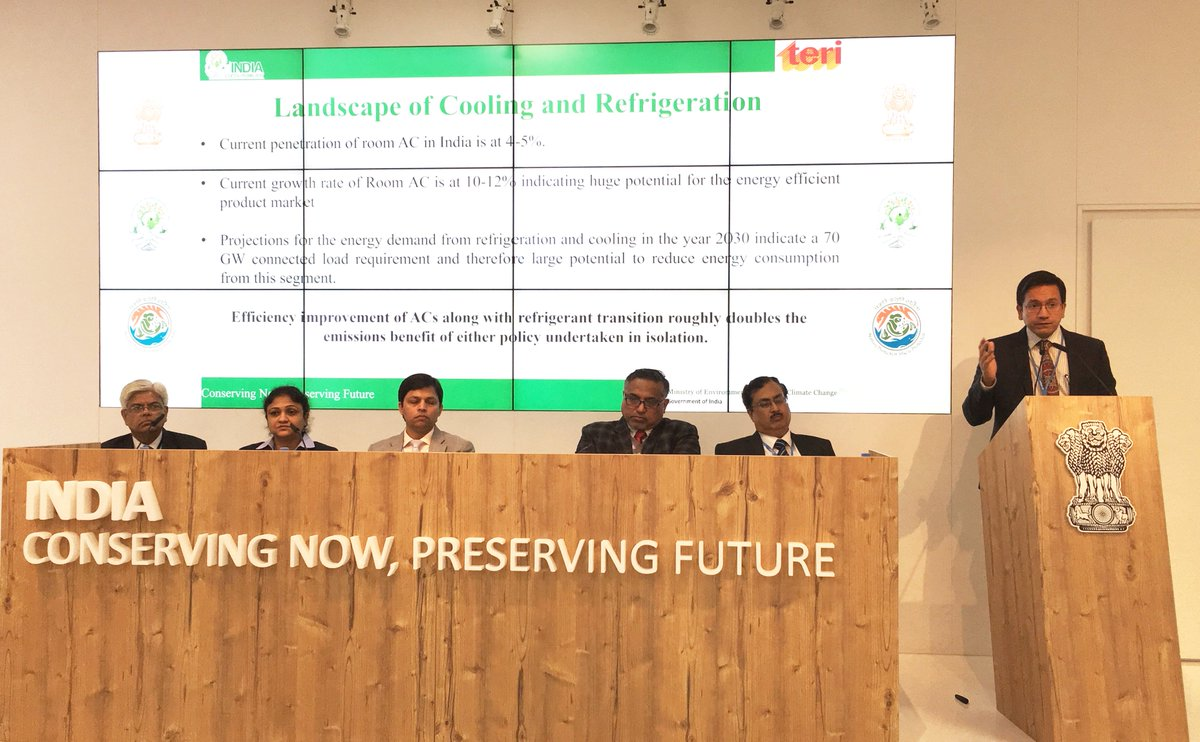 Sh. Karan Mangotra, TERI highlighting the importance of access to affordable cooling during today&#39;s session on Enhancing Building Efficiency &amp; #SustainableEnergy Future hosted by @MinOfPower #india@cop23 #indiapavilion<br>http://pic.twitter.com/TAR4XVwWgF