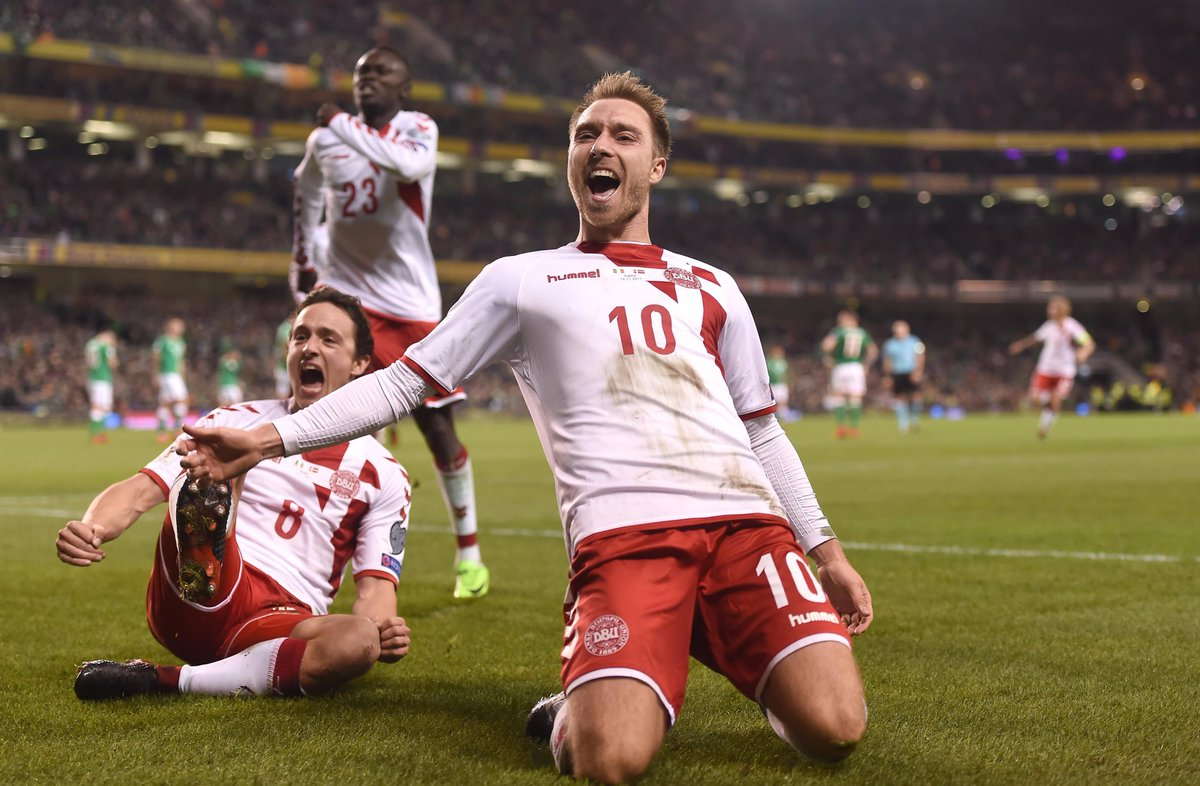 Hat-trick hero! ⚽️⚽️⚽️  🇩🇰 Christian Eriksen has now scored 9 goals in his last 8 games for Denmark. 🔥🔥🔥 https://t.co/fw656QlR5L
