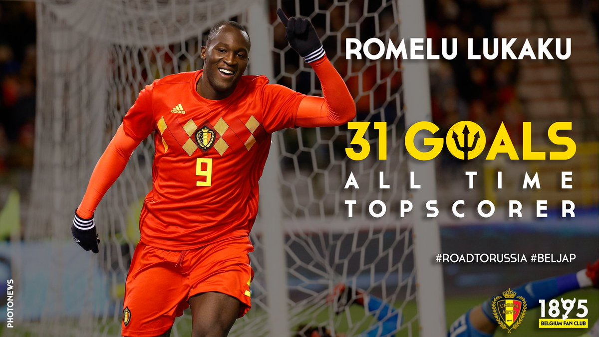 .@RomeluLukaku9 is now our all time topscorer! ⚽️💪🏿🥇 Congrats Big Rom! 👏😃 #BELJAP #RoadToRussia https://t.co/6I3yw6KgAP