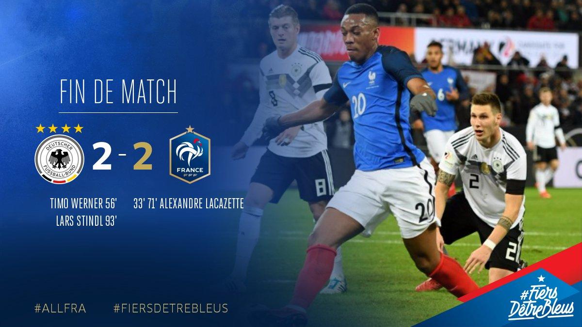 Match nul (2-2) entre la France et l'Allemagne ! #ALLFRA
