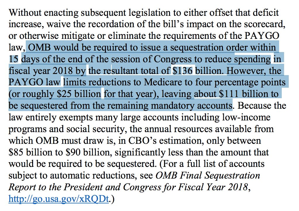 CBO reminds Congress that passing a $1.5T tax cut this year would trigger automatic $25B cuts to Medicare NEXT YEAR. Overriding these automatic cuts requires 60 votes. I don't understand why Dems aren't shouting this from the rooftops. https://t.co/pHbmDIwvGS