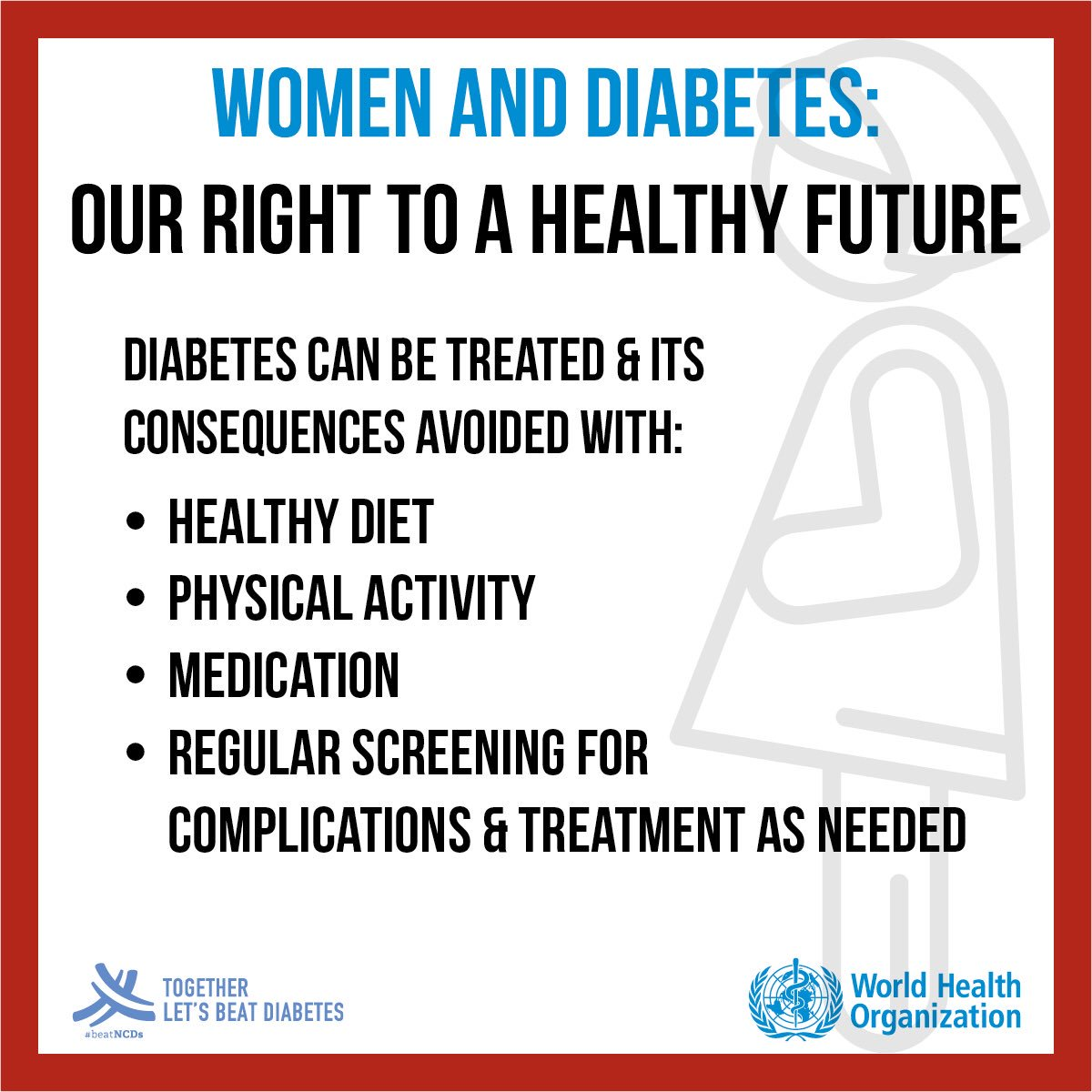 #Diabetes can be treated &amp; its consequences avoided with: -Healthy diet -Physical activity -Medication -Regular screening for complications &amp; treatment as needed <br>http://pic.twitter.com/2dtk1V335E