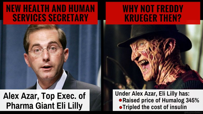 In an effort to lower Rx drug prices &amp; take on the power of #BigPharma, who is appointed HHS Secretary?  If you guessed a #BigPharma executive you would be correct!  Under #AlexAzar Eli Lilly tripled the cost of insulin:  https:// goo.gl/YuacXT  &nbsp;   #TuesdayThoughts #WorldDiabetesDay<br>http://pic.twitter.com/PgnrwjPAiL