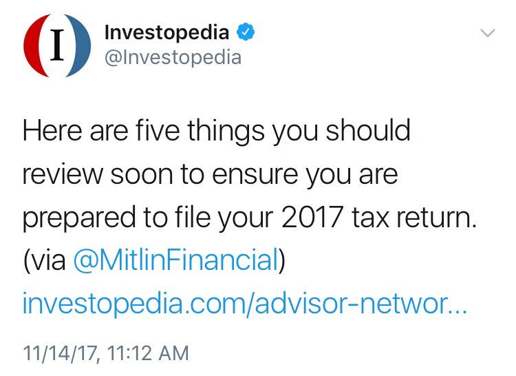 Honored to have @Investopedia highlight &quot;5 Tax-Planning Steps to Take Before the Year Ends&quot;   http:// mitlin.us/5stepsYr  &nbsp;   #planning #YearEnd<br>http://pic.twitter.com/ip1MbtZkrS
