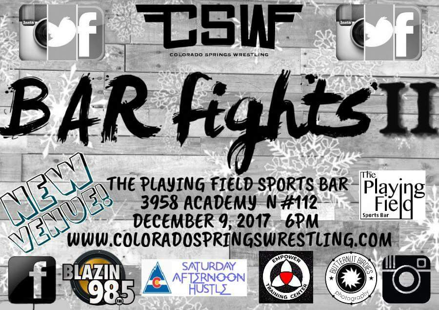 We&#39;re headed back to The Playing Field Sports Bar for BAR FIGHTS Vol.2 on 12/9. Tickets will be available online soon! #Colorado #coloradospringswrestling #coloradosprings #denver #pueblo #wwe #nxt #lu #Lucha #luchaunderground #Prowrestling  #IndyWrestling #MartyTheMoth<br>http://pic.twitter.com/CqrHUVBXQw