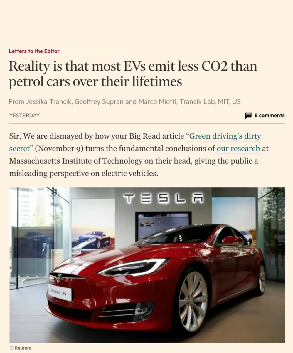 MIT researchers rebut misleading @FT article — truth is that EVs are way cleaner than petrol cars https://t.co/Pv7K9tU7hr