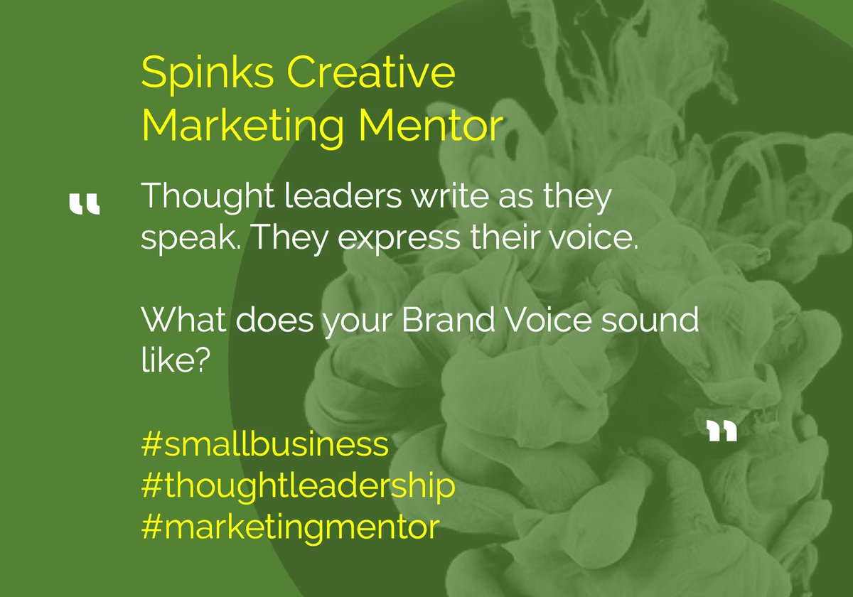 Thought leaders write as they speak. They express their voice.   What does your Brand Voice sound like?   #smallbusiness #thoughtleadership #marketingmentor <br>http://pic.twitter.com/JQbZpU7aEi