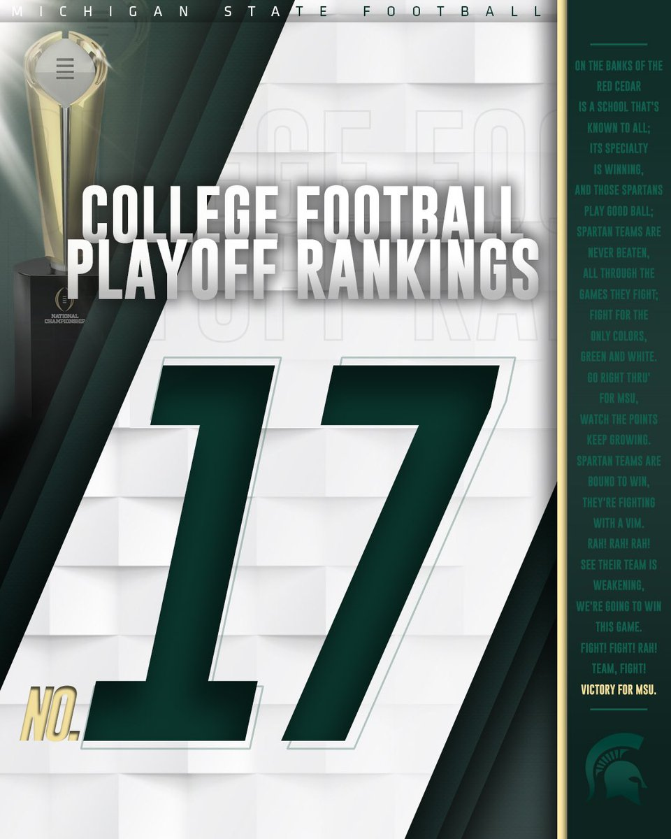 Your Spartans sit at the 17th position in the third week of the College Football Playoff rankings! #GoGreen <br>http://pic.twitter.com/joVg624G4T