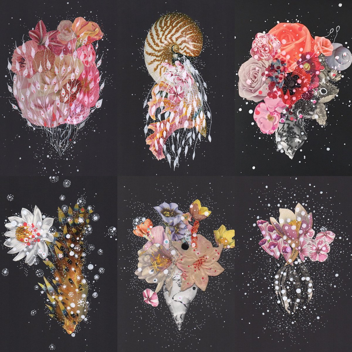 Starry skies, night seas. My works of pen, ink, and collage on paper. Flame, veil, bouquet, fern, and infinite magic. #inmycosmos #celestial #cosmos #magic #science #art #sealife #cosmic <br>http://pic.twitter.com/mlBRzZwP5b