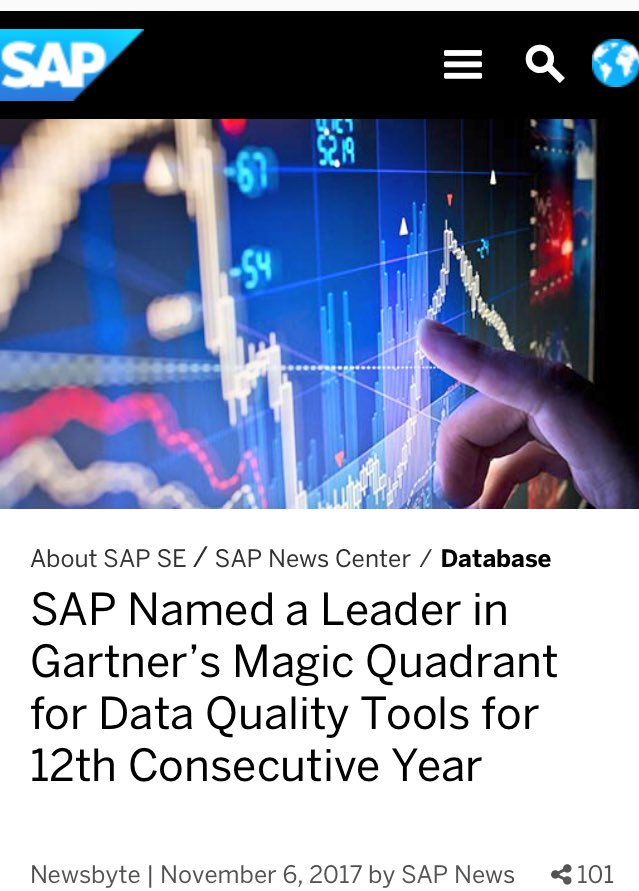 Good News!! #SAP Named a Leader in @Gartner_inc Magic Quadrant for #DataQuality Tools for 12th Consecutive Year Cheers!! #SAPHANA #Data #SAPBusinessOne   https:// news.sap.com/sap-named-a-le ader-in-gartners-magic-quadrant-for-data-quality-tools-for-12th-consecutive-year-2/ &nbsp; … <br>http://pic.twitter.com/jo8Eacxhpy