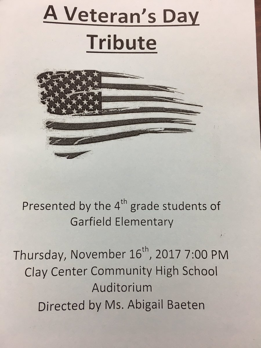This Thursday is the 4th grade Veteran's Day Program! We hope to see you there to honor our Veterans for their service! #usd379 #musiced <br>http://pic.twitter.com/7MSf6dVGEL