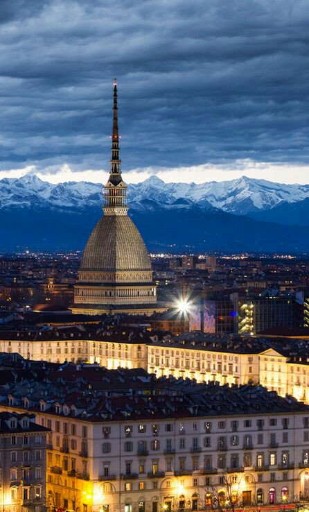 #Buonanotte ...Good night from #Torino, city surrounded by the #Alps  View over the elegant Mole Antonelliana tower, built in 1863 and now seat of the National Museum of Cinema #Turin #Italy #Italia #dcqitalia<br>http://pic.twitter.com/Yk8sVEgNsA