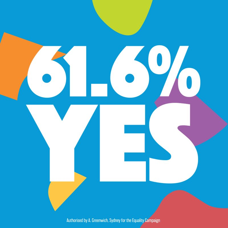 Thank you Australia.   WE DID IT!   #YES #MarriageEquality