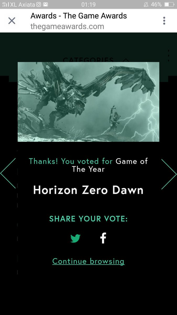 Done voted for you guys @Guerrilla  #HorizonZeroDawn #Guerrillagames #GOTY <br>http://pic.twitter.com/mBFzg8sS7Q