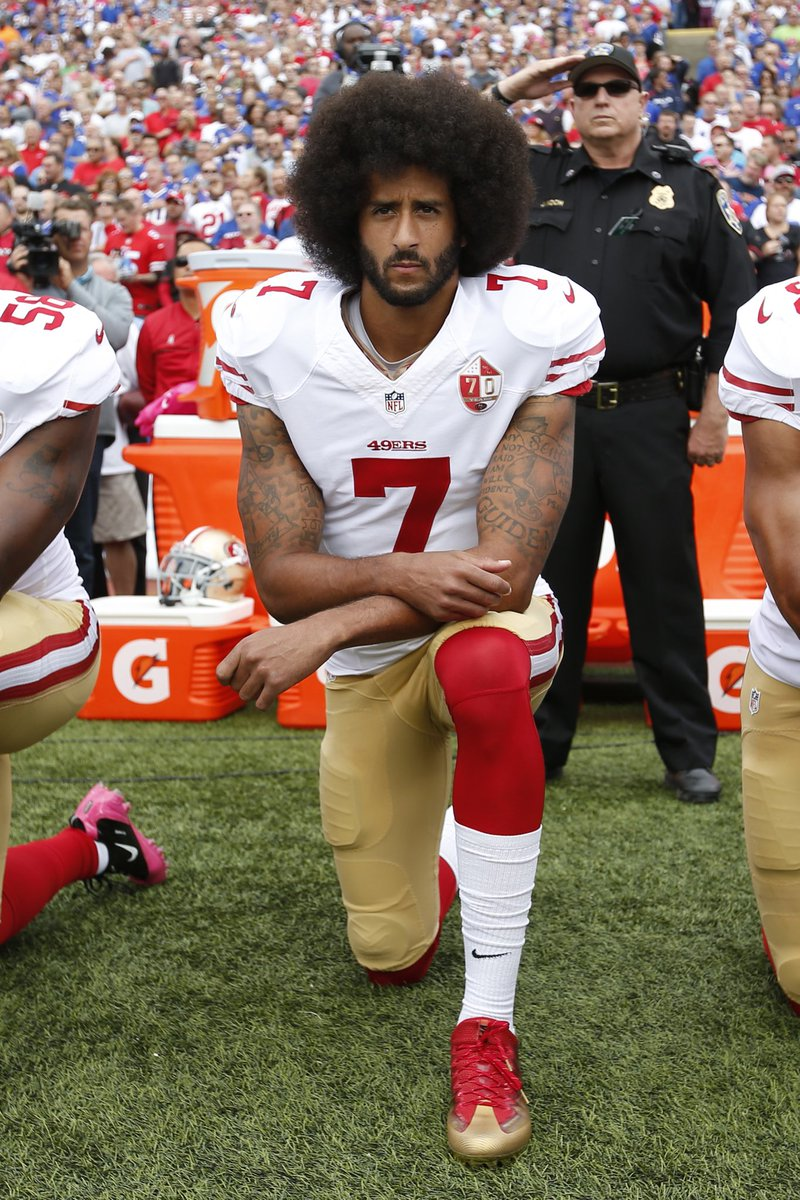 "So... if Colin Kaepernick can earn GQ's ""Person of the Year"" by Taking a Knee, what should this one-legged 94-Year-Old WWII Vet receive for Taking a Stand? ""Person of the Century""? Inquiring Minds want to Know.  #TakeAStand <br>http://pic.twitter.com/lDdDlokDX3"