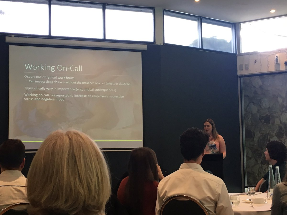 Great first conference talk by honours student Helen Preece on cortisol and mood when on-call @CQUni_Appleton #ASR #opredi<br>http://pic.twitter.com/ojM5FGTJLX