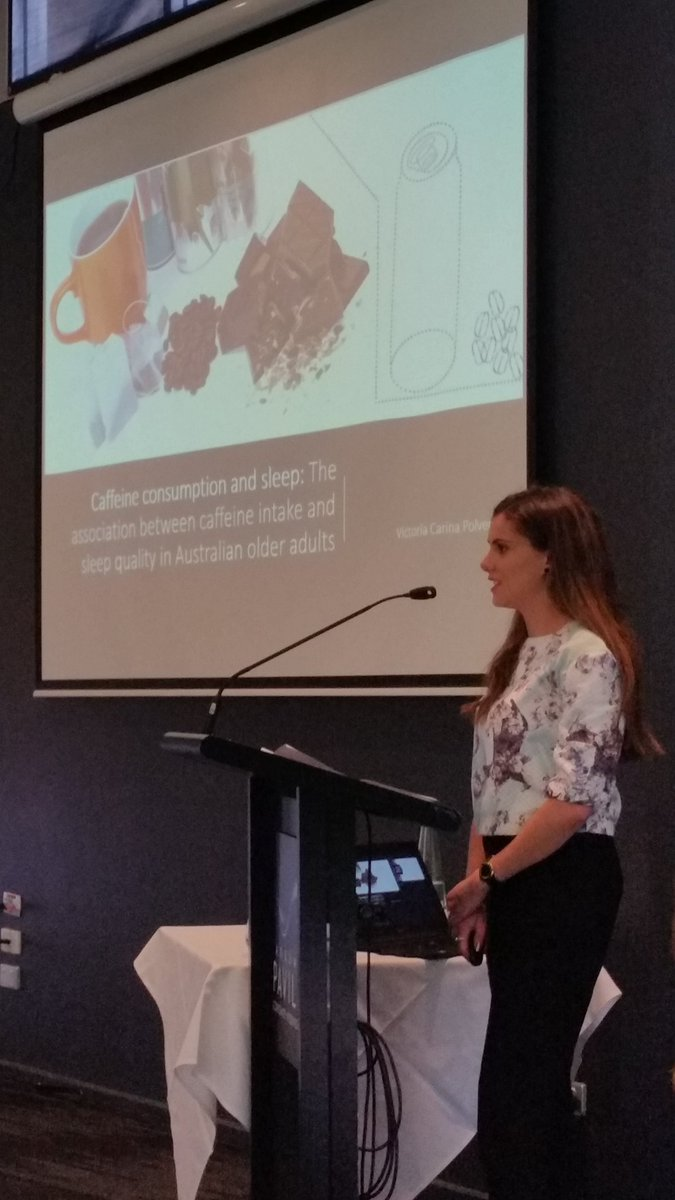 @unisasleeplab student Victoria talking about caffeine consumption in older adults #asr @unisaresearch @SHFAustralia<br>http://pic.twitter.com/5XppS6zGY9