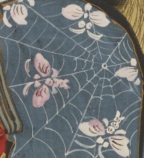 蜘蛛の巣に捕まった蝶。これは、遊女の着物の柄です。町娘、芸者とともに描いた絵で、髪型や着物の特徴から…