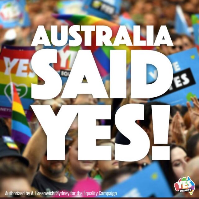 Good news this morning, from down under #EqualityWins <br>http://pic.twitter.com/VHOzIFm25I