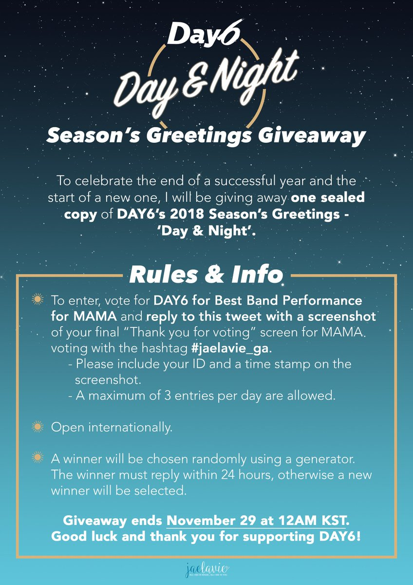 On twitter jaelaviega to celebrate the ending of a successful of day6s 2018 seasons greetings day night ends nov 29 at 12am kst good luck vote httpmwaveenmamavote picitter kristyandbryce Choice Image