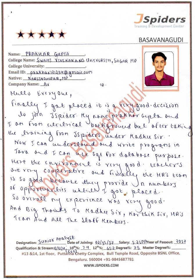 Jspiders Basavanagudi  #Jspiders Basavanagudi.  #Congratulations Prakhar Gupta  #Got PLACED @ A.S009  #Contact us @ 9686114422 , 9686995511  Qualification : B.TEC(EEE)  Designation : Software Analyst  Percentage :75%  College Name : SWAMI VIVEKANAND UNIVERSITY . SAGAR (M.P) pic.twitter.com/0ETwcv8h3o