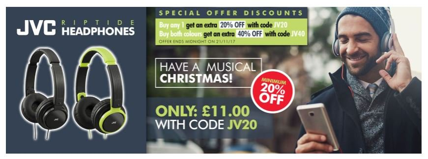 Save Min of 20% on @JVC_UK Riptide headphones #RT #Follow #Win Save Share #MultiBuy any 2 save a Massive 40% <br>http://pic.twitter.com/9fHVbr7QCy