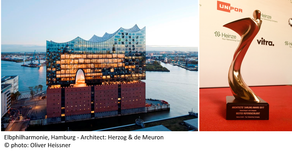 Congratulations to AGC @interpane for winning the golden #Architects #Darling 2017 prize - category &quot;Best Reference Project&quot; with the #Elbphilharmonie  #Hamburg! Read more on this project on  http://www. interpane.de/en/news/high-e nd-coating-for-the-elbe-philharmonic-hall.html &nbsp; …    #unique #glass #facade for #amazing #architecture <br>http://pic.twitter.com/jKaRovgbFc