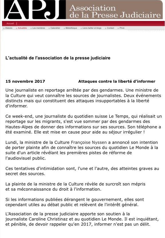Attaques contre la liberté d'informer : ça suffit @FrancoiseNyssen @lemonde  http://pressejudiciaire.fr/2.html