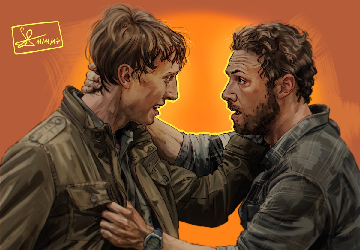 Finished this painting of @RossMarquand and @jwoodsrobinson a while ago! I miss #aaric so much already :(  #TheWalkingDead  <br>http://pic.twitter.com/99SpadaiCu