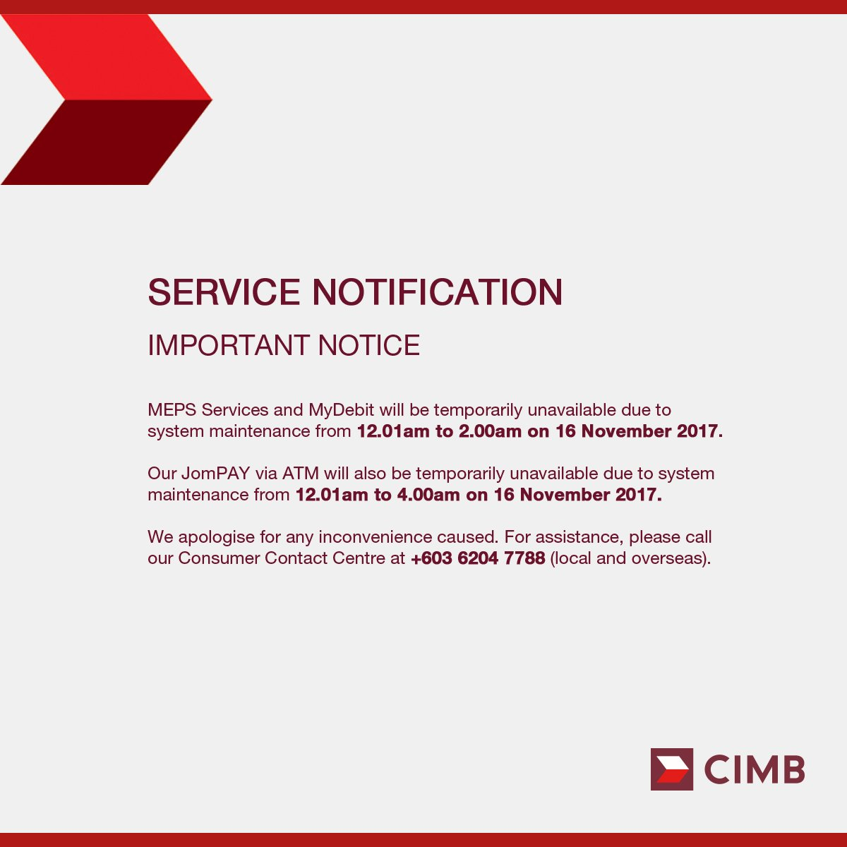 Cimbmalaysia On Twitter Important Notice The Following Services
