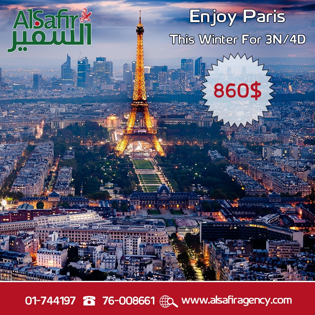 Enjoy This Winter #Paris  #France For 3N/4D Starting price 860$ For More Info: http://www. alsafiragency.com/paris.pdf  &nbsp;   Call us on 01-744197 or 76-008661<br>http://pic.twitter.com/wsvBWk2Cfn