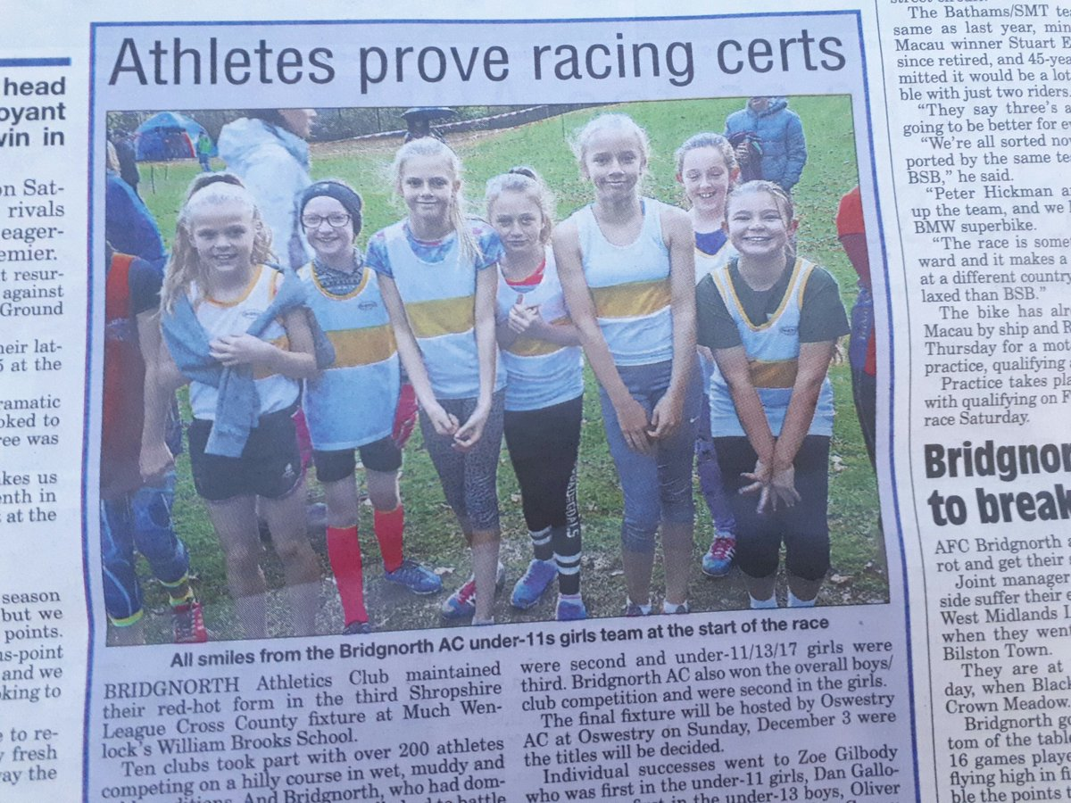 @BridgnorthAC U11 girls X/C team  all smiles  on back page of the Journal  today.#Bac <br>http://pic.twitter.com/o54LCtD3BX