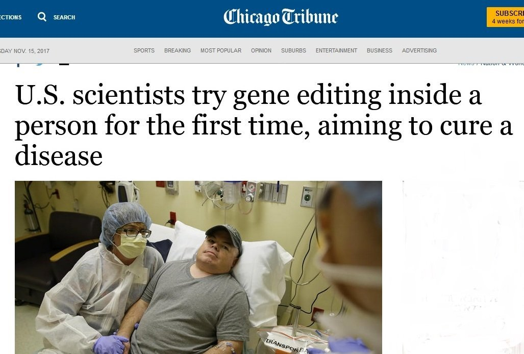 Innovation: A Pioneering Attempt to Cure a #RareDisease: The Future, Today  http://www. chicagotribune.com/news/nationwor ld/science/ct-us-scientists-gene-editing-20171114-story.html#innovation &nbsp; …  #OpenScience #DataScience #tech #genomics #science #technology #SNRTG #ITRTG<br>http://pic.twitter.com/IVpqwLLHKR