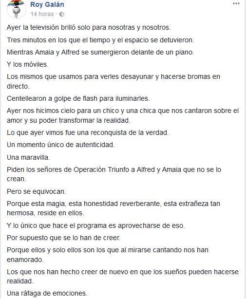 RT @marina_pua: Increíble el texto de 'Roy Galán' hacia Alfred y Amaia. #otdirecto15n https://t.co/dplbiffEGW