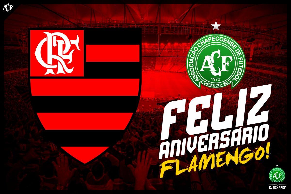 RT @ChapecoenseReal: O clube aniversariante de hoje é o @Flamengo! ⚽️🏹💚🎂 Parabéns, felicidades! #VamosChape https://t.co/vSsoLApeI5