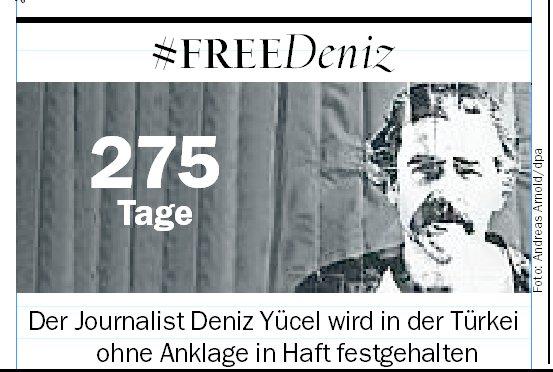 Deniz #Yücel: Seit 275 Tagen ohne Anklage in türkischer Haft - #FreeDeniz