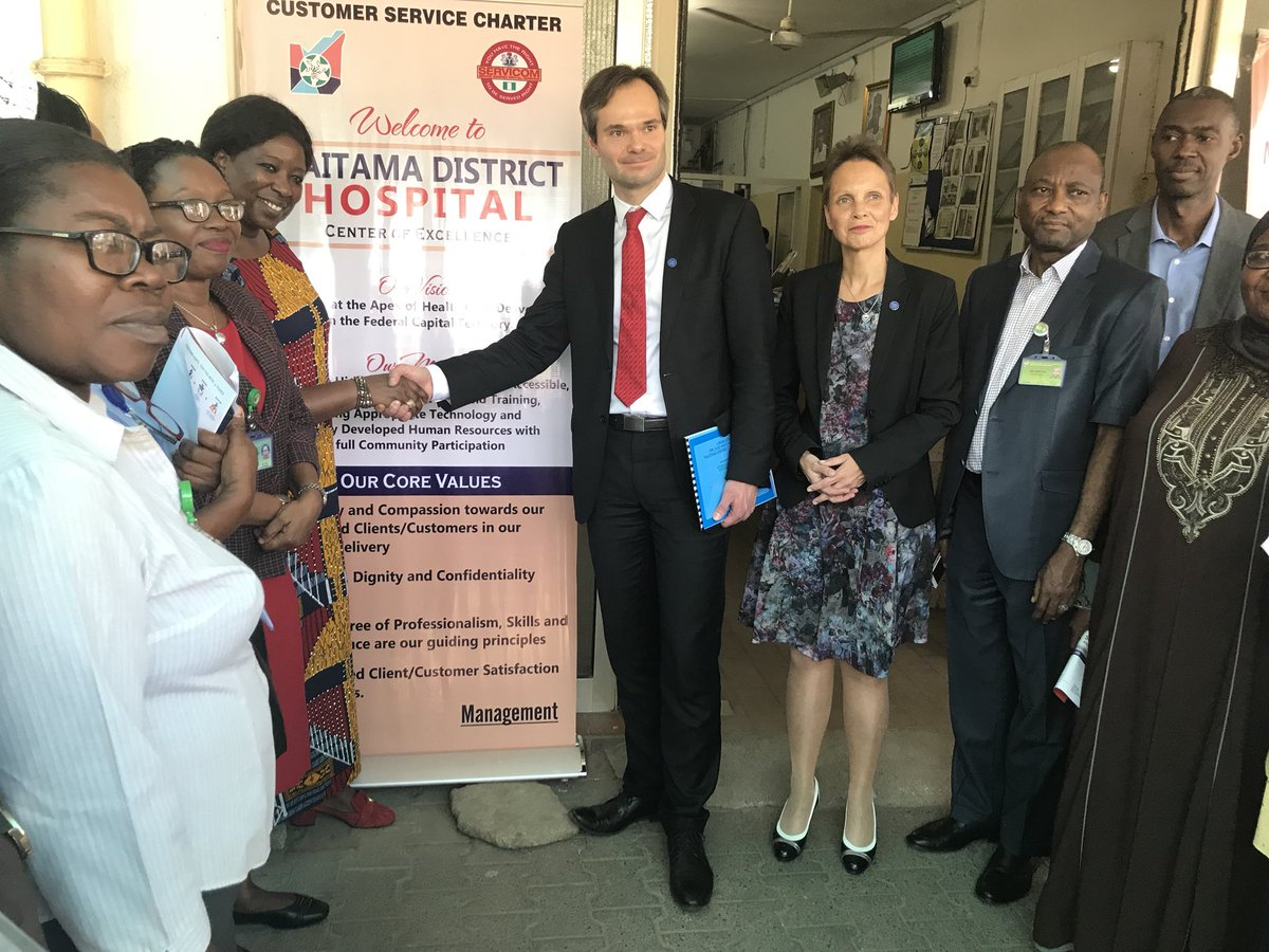 Happening now HE Minister @KaiMykkanen  and Ambassador @PirjoSuomela from #Finland visits Maitama District Hospital Abuja supported by @UNFPA  @UNFPA_Nordic @lauralonden @mabinguengom1<br>http://pic.twitter.com/zn6xTafOwB