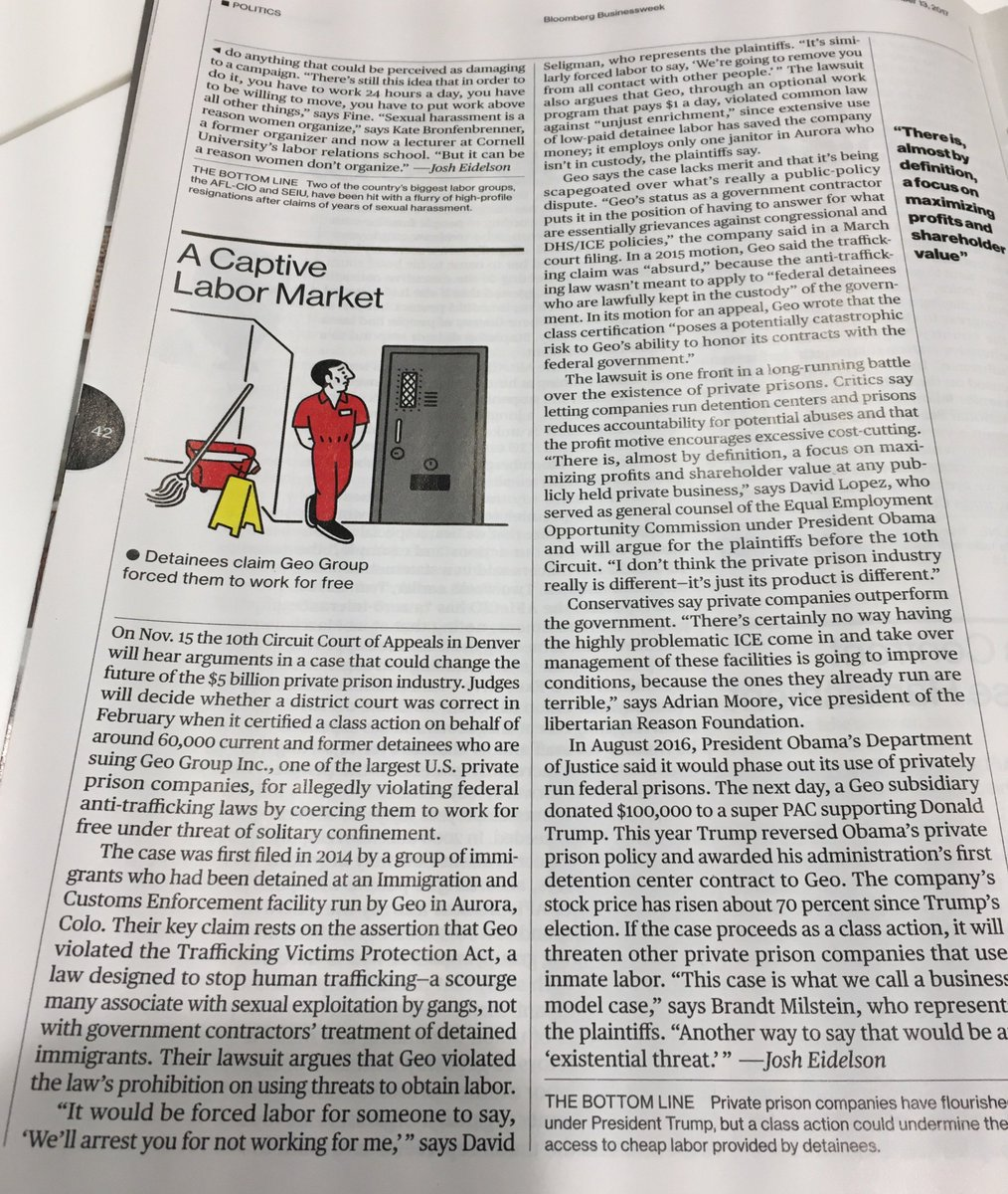 For this week's @BW, I wrote about sexual harassment in the labor movement - https://t.co/ffDijDQW7c - and alleged forced labor in immigrant detention https://t.co/K7ZP0Yy3cg