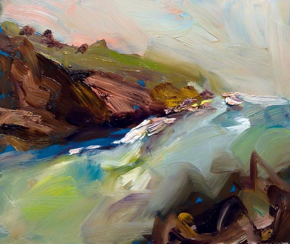 """... There was nothing I enjoyed more than walking down to my local #beach for a dip! """"morning light at bass point"""" 35X45 #morninglight #basspoint #nsw #australia #painter #artlover<br>http://pic.twitter.com/Jh6ik1kXT5"""