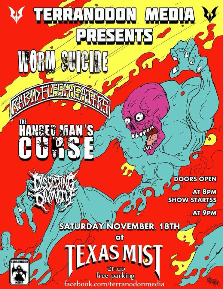GIG if the week pt 5!! Get down to @TexasMistLmv and see @WormSuicideTX!!! Face melting a plenty!! Don&#39;t miss this!!  #facemelting #atxmusic #liveshow #freeparking #mist #musicians #crazytimes<br>http://pic.twitter.com/wRd3zVwu9Q