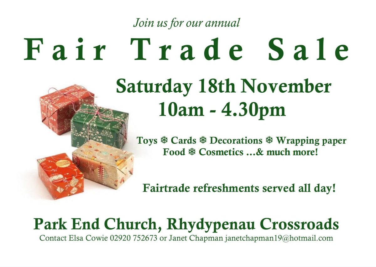 test Twitter Media - Join us this Saturday at @ParkEndChurch - huge selection of Fair Do's products for sale and a festive atmosphere! https://t.co/gN4CWfXxPh