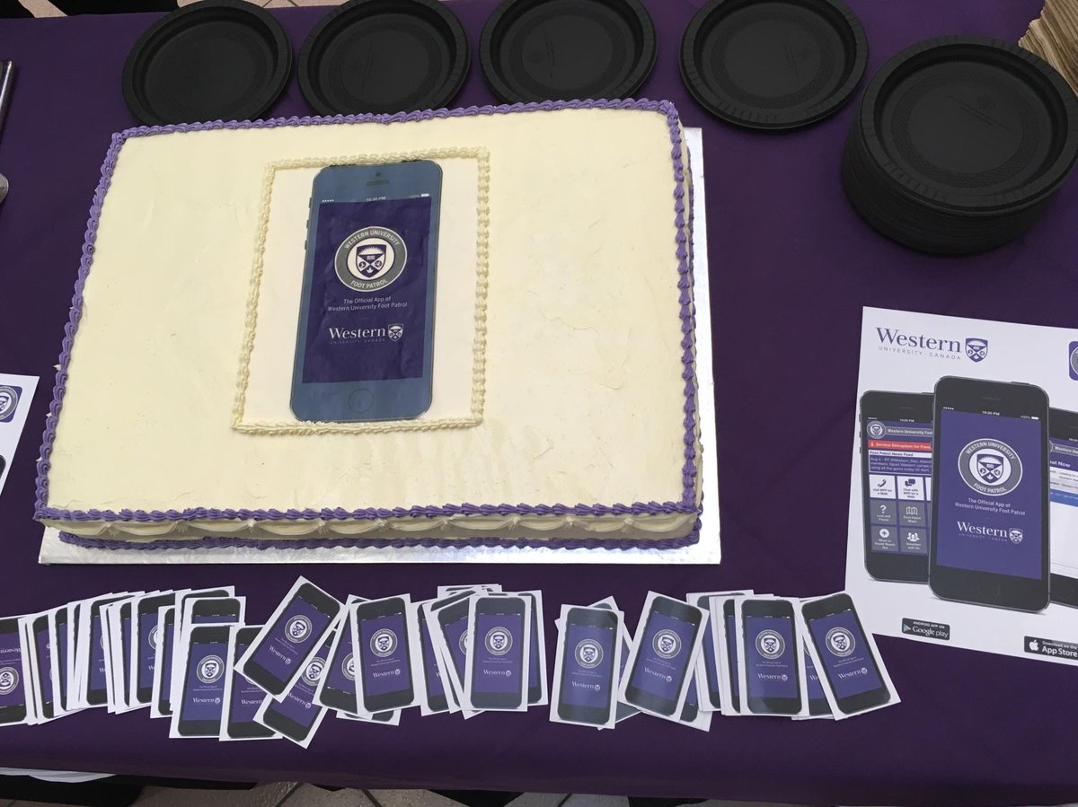 The good folks .@uwofootpatrol and the .@WesternU show off one of the most creative ways we&#39;ve ever seen one of our apps (#FootPatrolApp) advertised! Cake anyone?! #Cake #mobileapp #AppArmor #WesternU #FootPatrol #OmNomNom<br>http://pic.twitter.com/4ASwnFkvJq